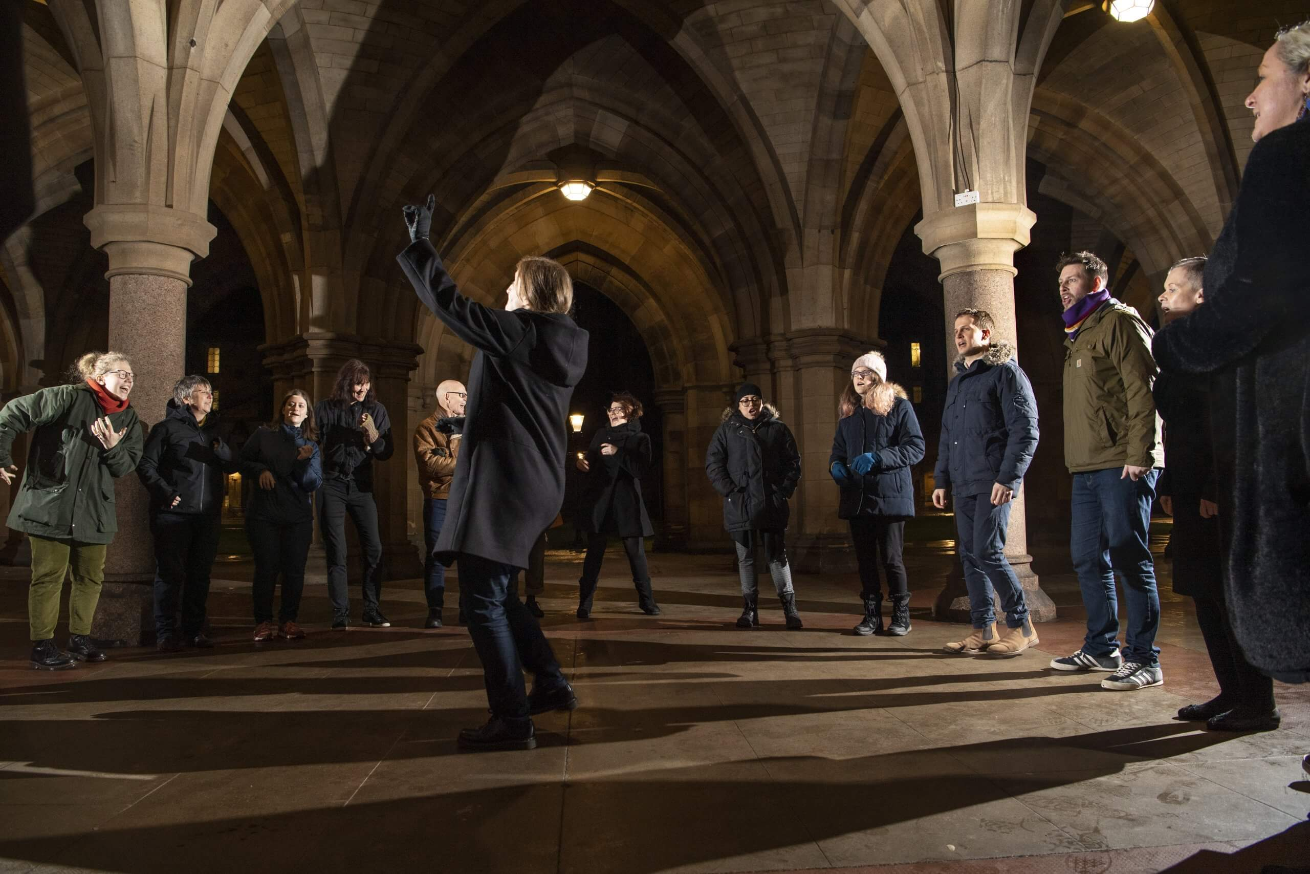 Choir singing at the University of Glasgow Cloisters