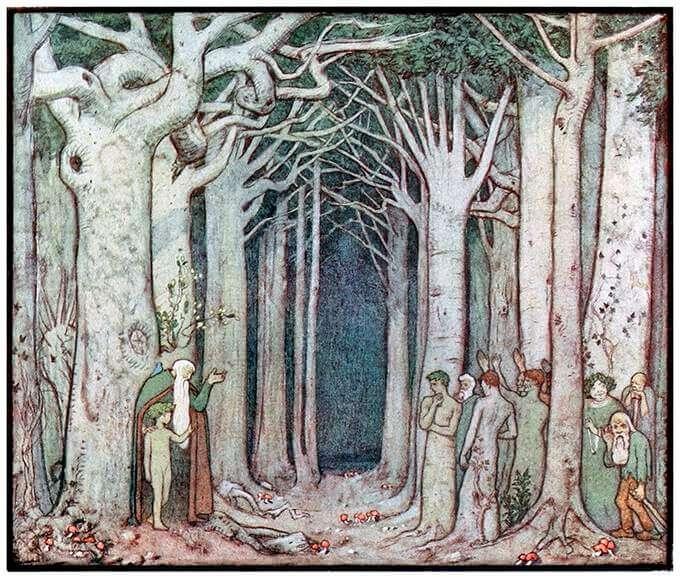 Ilustration: The Oak addresses the Spirit of the Trees